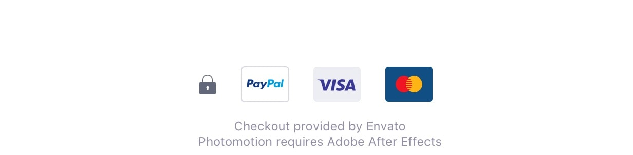 Checkout provided by Envato. Photomotion requires Adobe After Effects